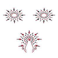 Пэстис Petits Joujoux Gloria set of 3 - Black/Red. Наклейки на соски, стикини и пэстисы