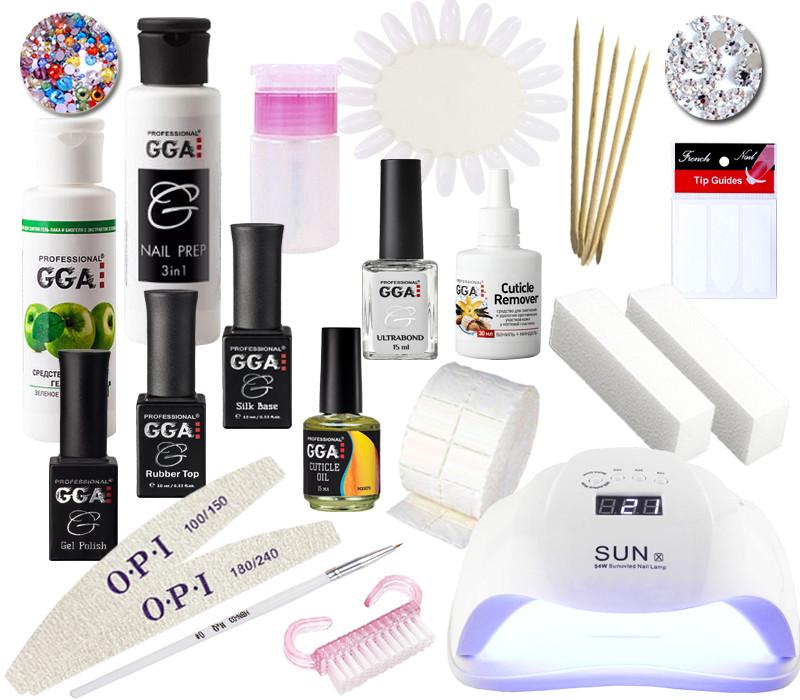 Набор для покрытия ногтей гель лаком ТМ GGA Professional  с LED лампой 54 Вт