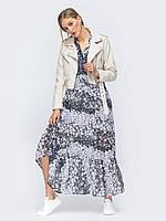 Шифоновое платье свободного кроя   oversize серое с принтом  44-46 48-50 52-54