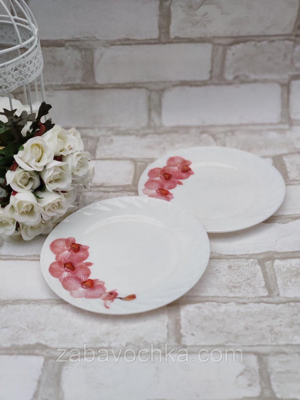 Тарілка закусочна із склокераміки декорована гілкою орхідеї, діаметр 18 см(продаж лише упаковками, 6шт/уп)
