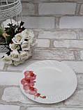 Тарілка закусочна із склокераміки декорована гілкою орхідеї, діаметр 18 см(продаж лише упаковками, 6шт/уп), фото 4
