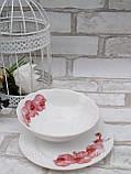 Тарілка закусочна із склокераміки декорована гілкою орхідеї, діаметр 18 см(продаж лише упаковками, 6шт/уп), фото 5