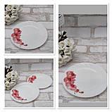 Тарілка закусочна із склокераміки декорована гілкою орхідеї, діаметр 18 см(продаж лише упаковками, 6шт/уп), фото 2