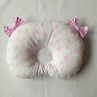 Ортопедическая подушка для младенца masterwork холофайбер 24*32 см. белый с розовыми звёздами