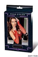 Митенки-перчатки эротическая сетка Anne De Ales Red. Перчатки