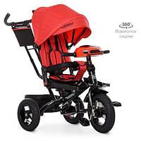 Велосипед трехколесный с ручкой детский Turbo Trike М 5448HA-3, надувные колеса, красный