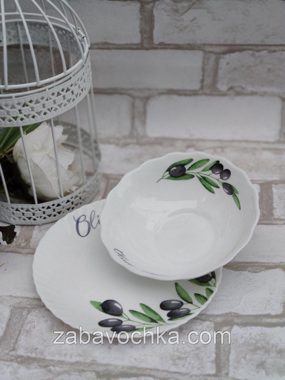 Салатниця зі склокераміки декорована оливками, діаметр 17,5 см (продаж лише упаковками, 6шт/уп)