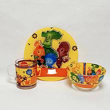 Детский набор стеклянной посуды для кормления Фиксики 3 предмета