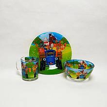 Детский набор стеклянной посуды для кормления Синий Трактор 3 предмета