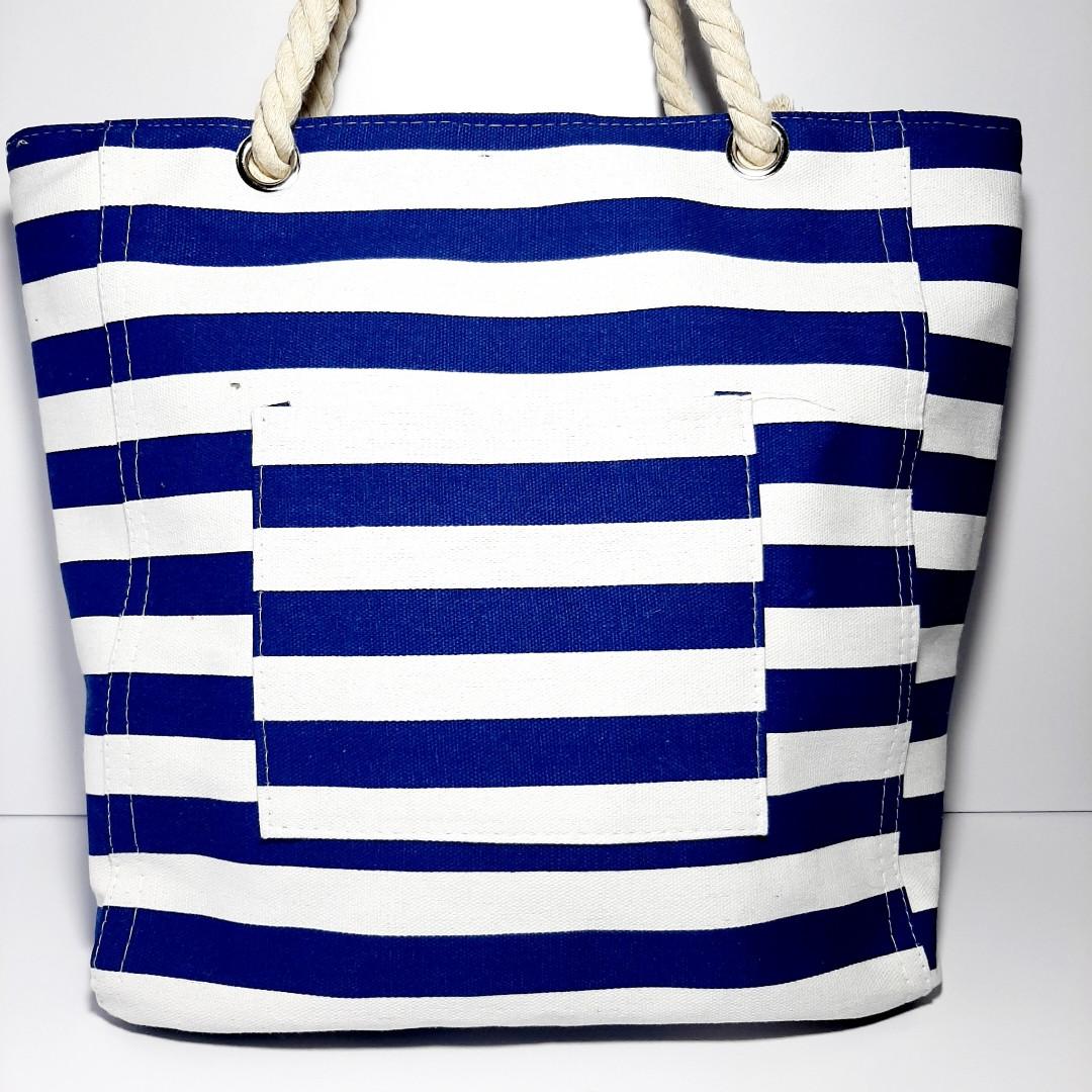 Пляжная сумка текстильная летняя тёмно синяя полоса