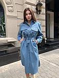 Жіноче джинсове плаття-сорочка з поясом, фото 2