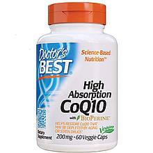 Doctor's Best, High Absorption CoQ10, 200 mg, Коэнзим Q10 с высокой степенью всасывания, 60 раст. капс., США