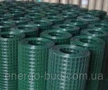 Сітка зварна в рулоні 50х100,цинк +ПВХ зелена, D 2.2 мм, H 2.0 м, L 25 м. пог