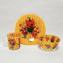 Детский набор стеклянной посуды для кормления Три Кота 3 предмета