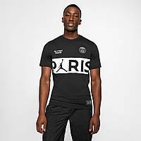 Футболка спортивная мужская Nike PSG Woodmark Tee от Jordanчерная, фото 1