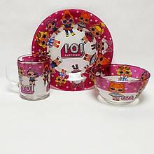 Набор детской стеклянной посуды из 3х предметов ЛОЛ Сюрприз