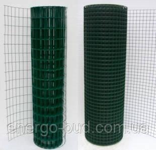 Сітка зварна в рулоні 50х50,цинк +ПВХ зелена, D 2.2 мм, H 1.5 м, L 10 м. пог