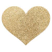 Украшение пэстисы на соски в форме сердца Bijoux Indiscrets - Flash Heart Gold Золото. Наклейки на соски, стикини и пэстисы