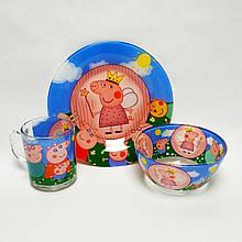 Детский набор стеклянной посуды для кормления свинка пеппа 3 предмета