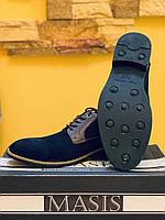 Кожаные замшевые чёрные туфли мужские