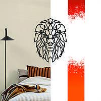 """Декоративная деревянная картина абстрактная модульная полигональная панно """"Lion / Лев"""""""