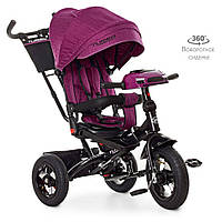 Детский трехколесный велосипед TURBO TRIKE М 5448HA-18T Фуксия твид | Велосипед-коляска Турбо Трайк музыка