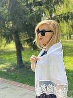 Свадебный платок шелк шифон белый 100*100