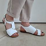 Босоніжки жіночі шкіряні білі, фото 2