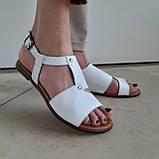 Босоніжки жіночі шкіряні білі, фото 4