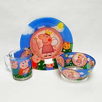 Детский набор стеклянной посуды для кормления 3 предметов