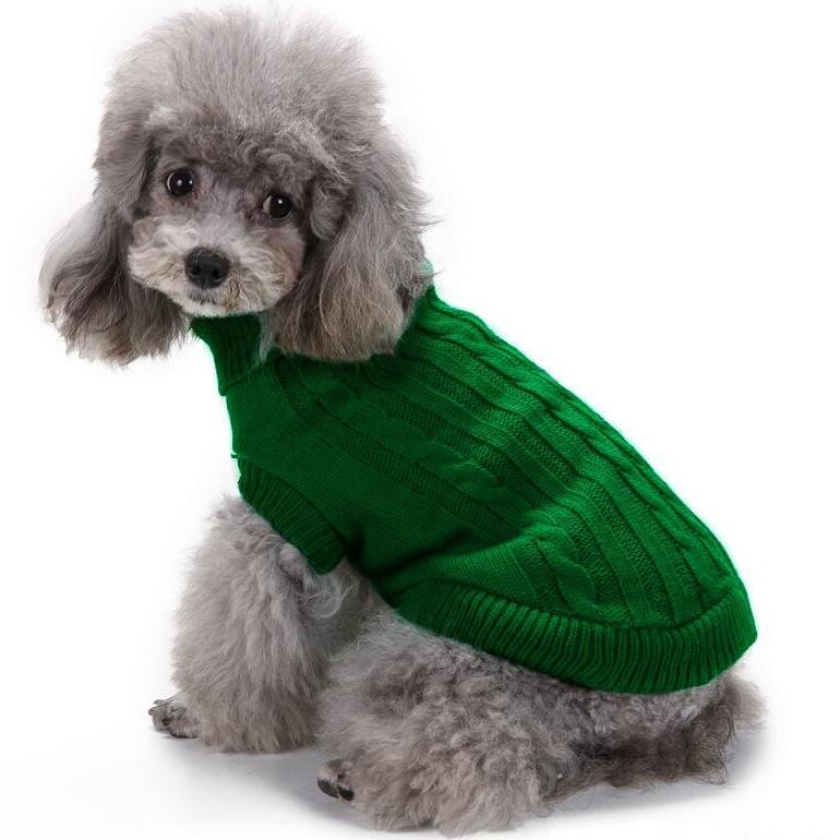 Светр для собак в'язаний «Преміум», зелений, одяг для собак дрібних, середніх порід