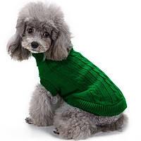 Светр для собак в'язаний «Преміум», зелений, одяг для собак дрібних, середніх порід, фото 1