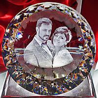3D фото в хрустальном кристалле - подарок на годовщину свадьбы, подарок на юбилей свадьбы