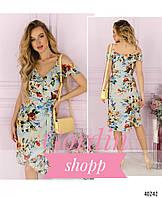 Шелковое платье на запах в цветочный принт