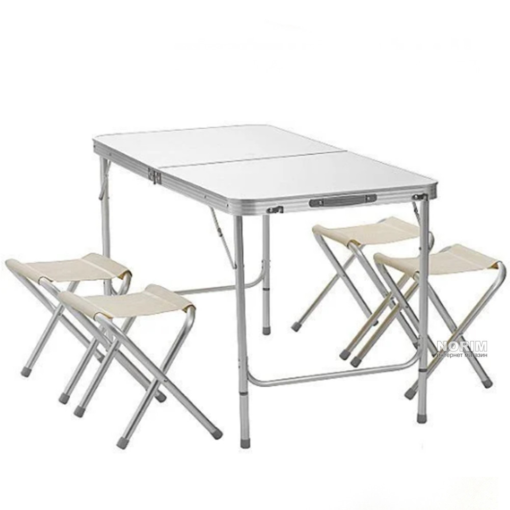 Стол раскладной + 4 стула Folding table (NO.5) Темное дерево