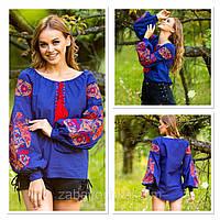Жіноча синя вишиванка з натуральної тканини, вишивка хрестиком! 580/650 грн (ціна за 1 шт +70 грн)