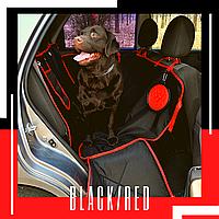 Автогамак, защитный авто чехол для собаки в машину. Двухслойный. С бортами. Standart black/red