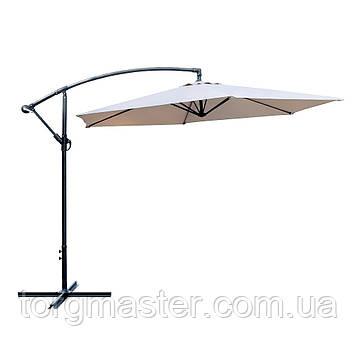 Зонт садовый с подвесным куполом бежевого цвета 3м