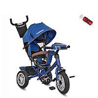 Детский трехколесный велосипед TURBO TRIKE M 3115HA-11 Темно-синий | Велосипед-коляска Турбо Трайк музыка