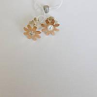 Серьги-пуссеты серебряные с золотом и цирконом Ромашки, фото 1
