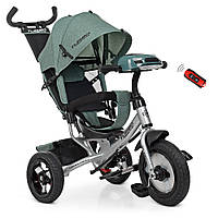 Детский трехколесный велосипед TURBO TRIKE M 3115HA-17L Хаки лен | Велосипед-коляска Турбо Трайк музыка USB/BT