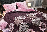 Постельное белье, двуспальный семейный комплект Розовые цветы