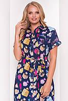 """Летнее платье-рубашка большого размера - темно-синее с принтом """"3XL"""" (10421.2.1)"""