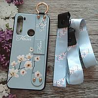 Чехол для Xiaomi Redmi note 8 с ремешком и стразами Flower style (голубой)
