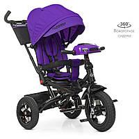 Детский трехколесный велосипед TURBO TRIKE  М 5448HA-8 Фиолетовый | Велосипед-коляска Турбо Трайк музыка