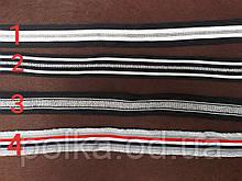 Тесьма полосатая с люриксом, ширина 2.5см, цвет черный белый красный синий(1уп=65м)
