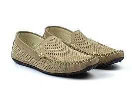 Бежеві літні нубукові мокасини в сіточку чоловіче взуття великих розмірів Rosso Avangard M4 Nub Beige Perf BS