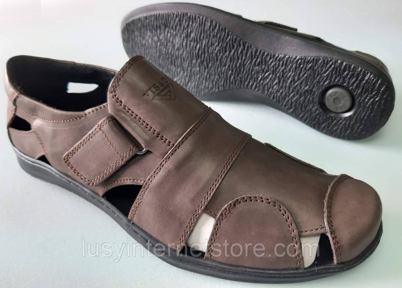 Босоножки мужские кожаные на липучках от производителя модель ИДМ67К
