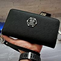 Модный кошелек Philipp Plein черный мужской Люкс Качество бумажник Брендовый барсетка Филипп Плейн копия, фото 1
