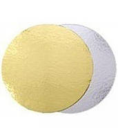 Подложка для торта круглая золотого и серебряного цвета Ø 300 мм (уп 20 шт) (E0291)